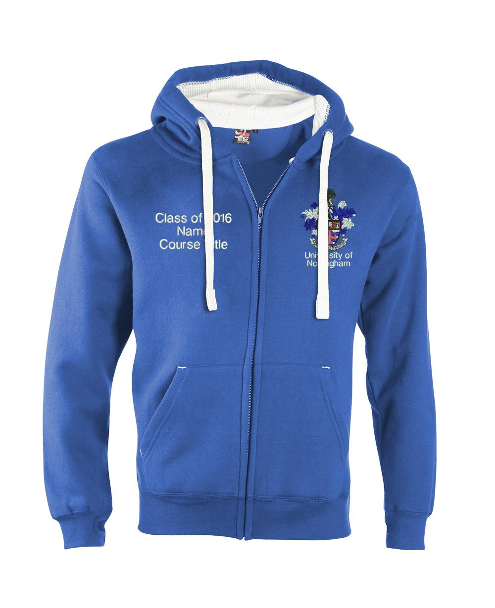 W81PF Embroidered-Ultra-Premium Graduation Zip Hoodie-Nottingham Ultra Soft Feel Hooded Top